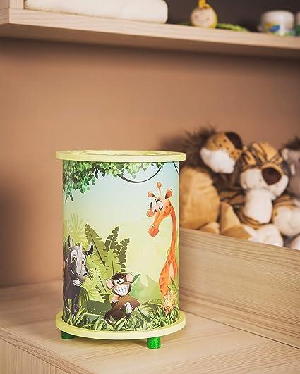 Elobra Bambini Lampada Lampada Da Tavolo Wildnis Giungla Cameretta Legno Colore Verde Lime A Amazon It Illuminazione