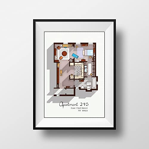 Sex and the City Apartment - Famous TV Show Floor Plan - Modern Art Poster  for