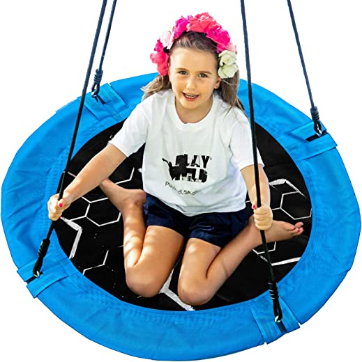 """Saucer Tree Swing - 40"""" Round Outdoor Swing Set - NEW Improved 2020 - Attaches to Trees or Existing Swing Sets - Create Your Own Backyard Playground - Adjustable Hanging Ropes - Kids, Adults and Teens"""