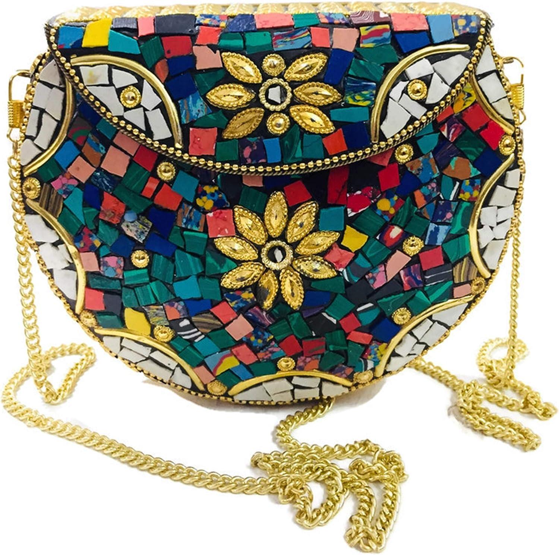 gaurjiya Multi couleur Pierres m/étal embrayage Ethnic Metal Bag mosaic embrayage Antique Portefeuille sac /à main de parti pour les femmes Bo/îte de Mariage