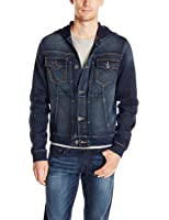 True Religion Men's Dylan Jean Jacket with Hood, Running Wild, 3x-large