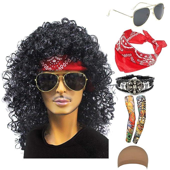 70s 80s 90s Mens Disco Halloween Rock Star Heavy Metal Wig Set Packet of 6