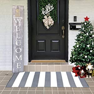Grey and White Striped Outdoor Rugs Runner 23.6