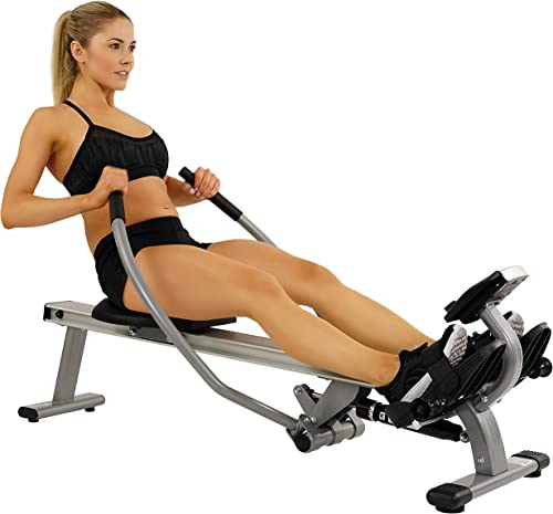 Sunny Health Fitness Full Motion Rowing Machine with High Weight Capacity, LCD Monitor and Aluminum Slide Rail – SF-RW5727
