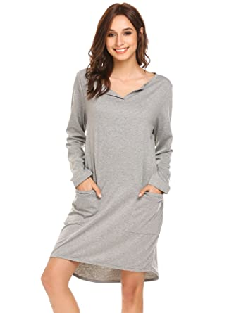 c9beacf6c43 Ekouaer Women's Nightshirts Long Sleeve Cotton Sleepwear, Above Knee ...