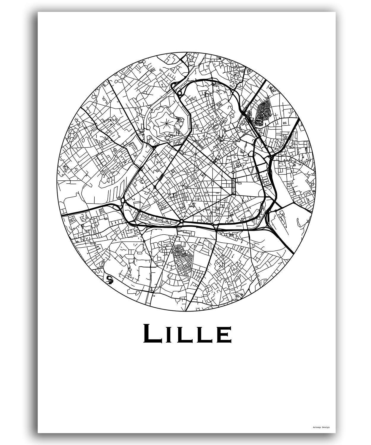 Cartel Lille Francia Minimalista Mapa - City Map, decoración ...