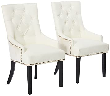 Iconic Home Cadence Dining Side Chair Button Tufted PU Leather Velvet  Polished Brass Nailheads Espresso Finished