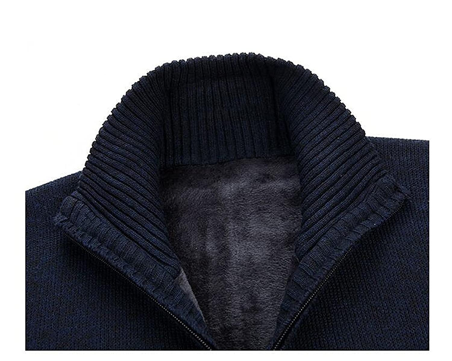 Robert Reyna Unique Mens Stand Collar Knitted Flower Pattern Zip Up Cardigan Sweater Jumper