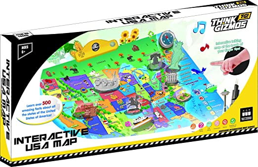 Interactive Talking USA Map For Kids TG660 - Push, Learn and ...