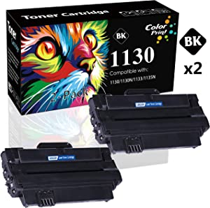 2-Pack ColorPrint Compatible Dell 330-9523 7H53W 1130 Toner Cartridge Used for Dell 1130n 1133 1135n Printer (Black)