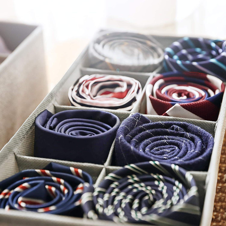 Grigio Chiaro RYUS04W Portabiancheria Pieghevole Set di 4 Organizzatore per Guardaroba per Slip Calzini Reggiseni Cravatte SONGMICS Divisore per Cassetti