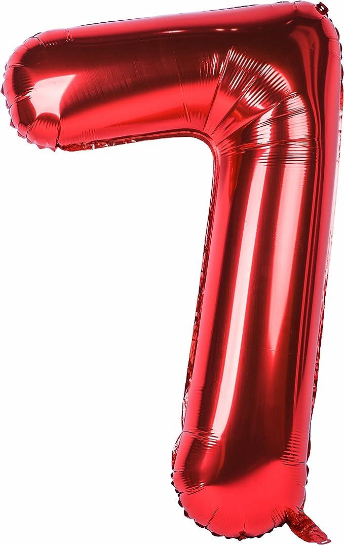 Amazon.com: Globo grande de 40 pulgadas, color rojo, números ...