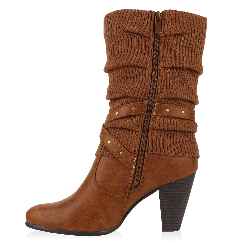 Stiefelparadies Damen Stiefel High Heels mit Trichterabsatz Stulpen  Schnallen Flandell: Amazon.de: Schuhe & Handtaschen