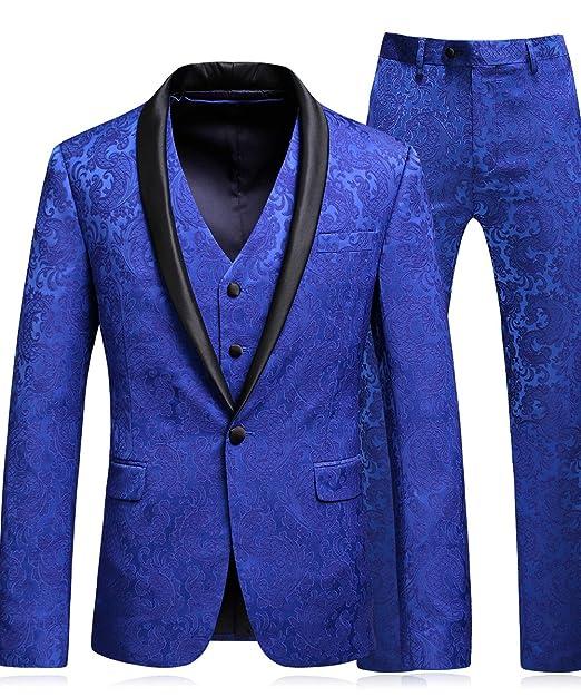 MOGU Classic Floral Jacquard Hombre Azul combina Chaqueta y Chaleco de 3 Piezas de Lujo con Chaleco y Chaleco
