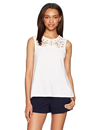 c56a0dcac8d297 Amazon.com  French Connection Women s Ekon Embellished Lace Jersey Top   Clothing