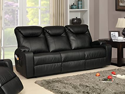 Lovesofas Sofá reclinable de 3 plazas, Piel, Negro: Amazon ...