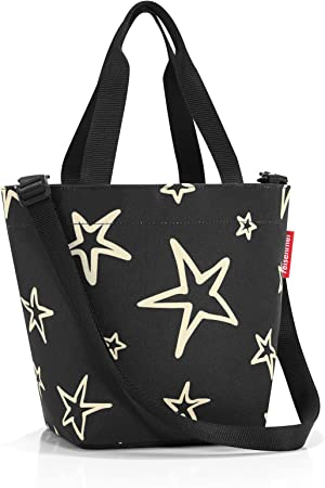 Reisenthel Shopper XS Stars, Borsa per la Spesa, Poliestere, Nera, 31 x 21 cm