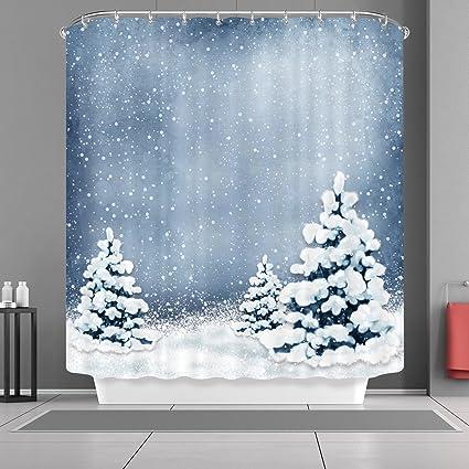 VANCAR Xmas Merry Christmas Day Happy New Year Shower Curtain Winter Snow Snowflake Tree Bath