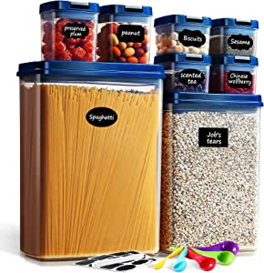Lockcoo Airtight Food Storage Containers with Lids, 8PC Plastic Storage Containers Set with Easy Lock Lids, BPA Free Dry Food Storage Containers Spaghetti Canisters Pantry Jars for Cereal Flour Sugar