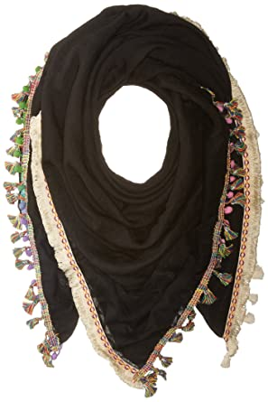 Steve Madden Women's Catalunya Tassel and Pompom Scarf, black, One Size