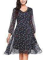 Zeagoo Damen Elegant Sommerkleid Chiffonkleid Polka Dots Cocktail Party Kleid A Linie Knielang