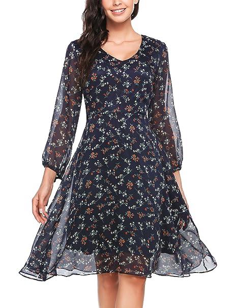 jetzt kaufen Fabrik authentisch wähle das Neueste Zeagoo Damen Elegant Sommerkleid Chiffonkleid Polka Dots Cocktail Party  Kleid A Linie Knielang