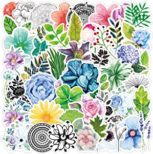50 Pcs Plant and Flower Stickers Decals for Water Bottle Hydro Flask Laptop Luggage Car Bike Bicycle Helmet Vinyl Waterproof Plant and Flower Stickers Pack