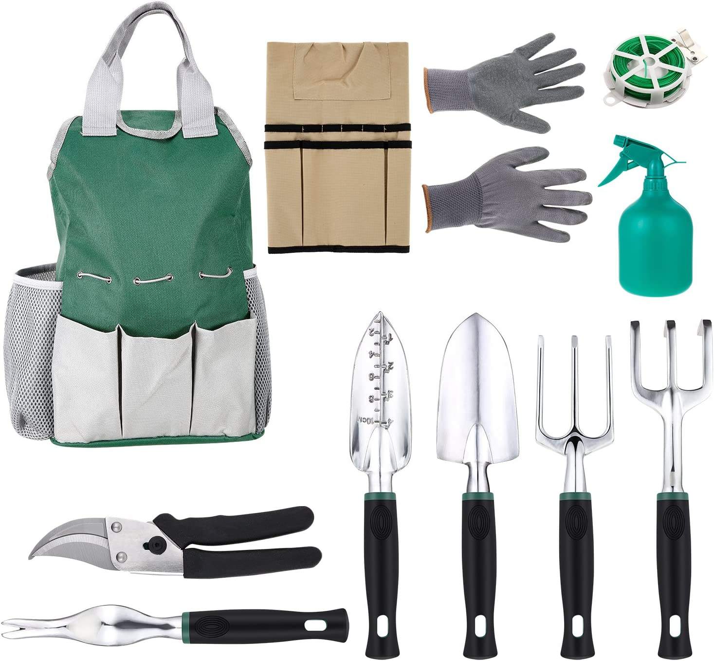 11 Piece Garden Tool Sets Gardening Tools Including Tool Organiser Bag,Apron,6 x Gardening Tools,Cotton Gloves and Bind Line 81WEY-KwmYL