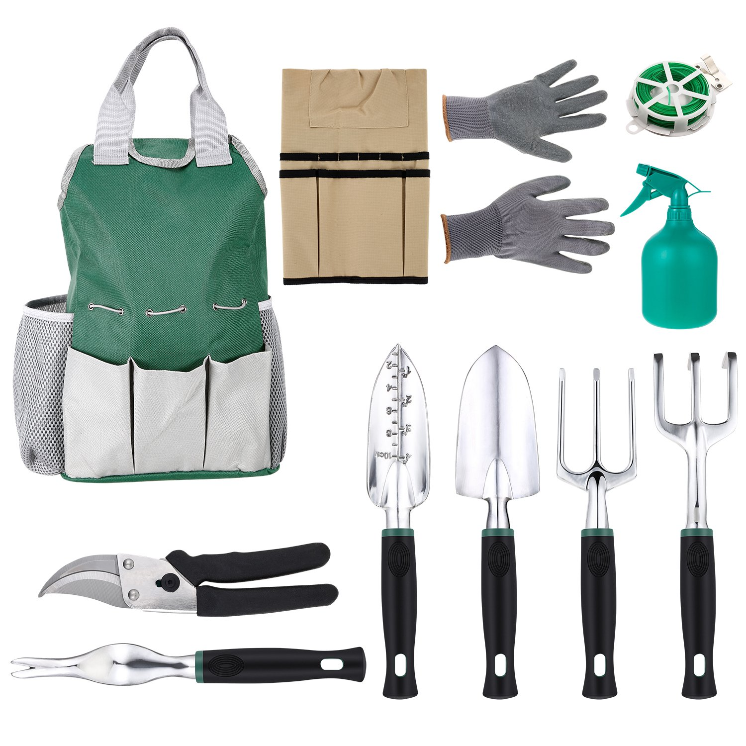Homdox 11 Piece Gardening Tool Set Gardening Tools with Tool Bag Apron 6 Gardening Tools Anti-cutting Gloves and Bind Line Green