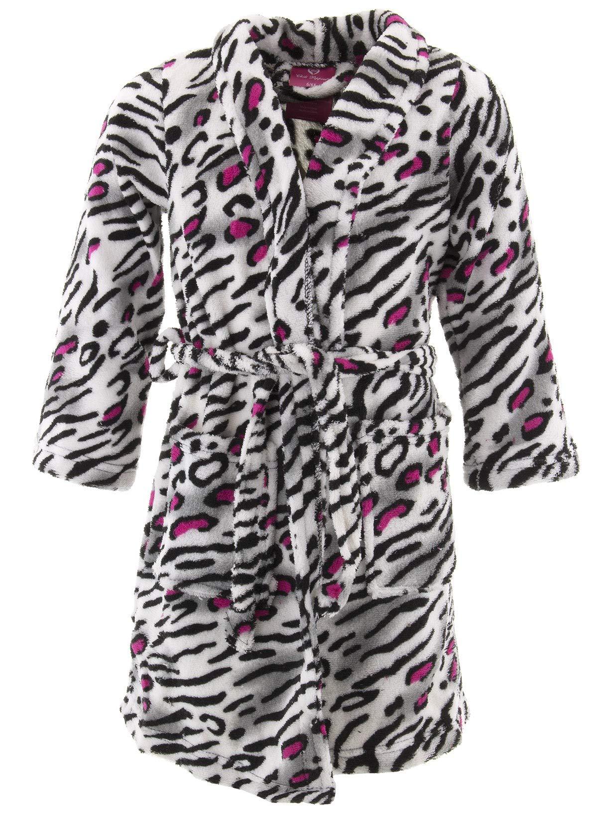 Chili Peppers Big Girls' White Pink Leopard Fleece Bathrobe 12-14