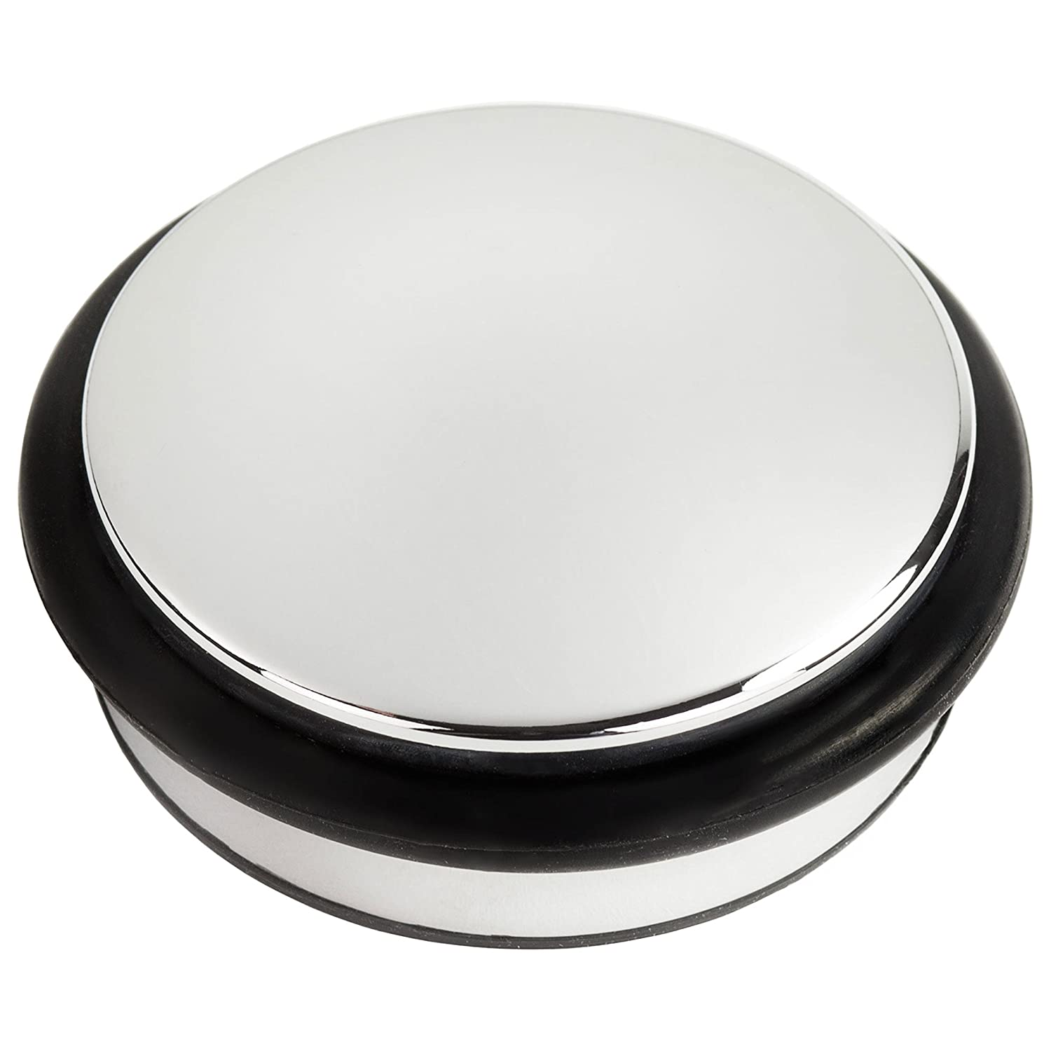 Andrew James Heavy Duty Chrome Door Stop | 10cm Diameter Round Metal Door Stopper with Rubber Protection Ring | 1.2kg Weight