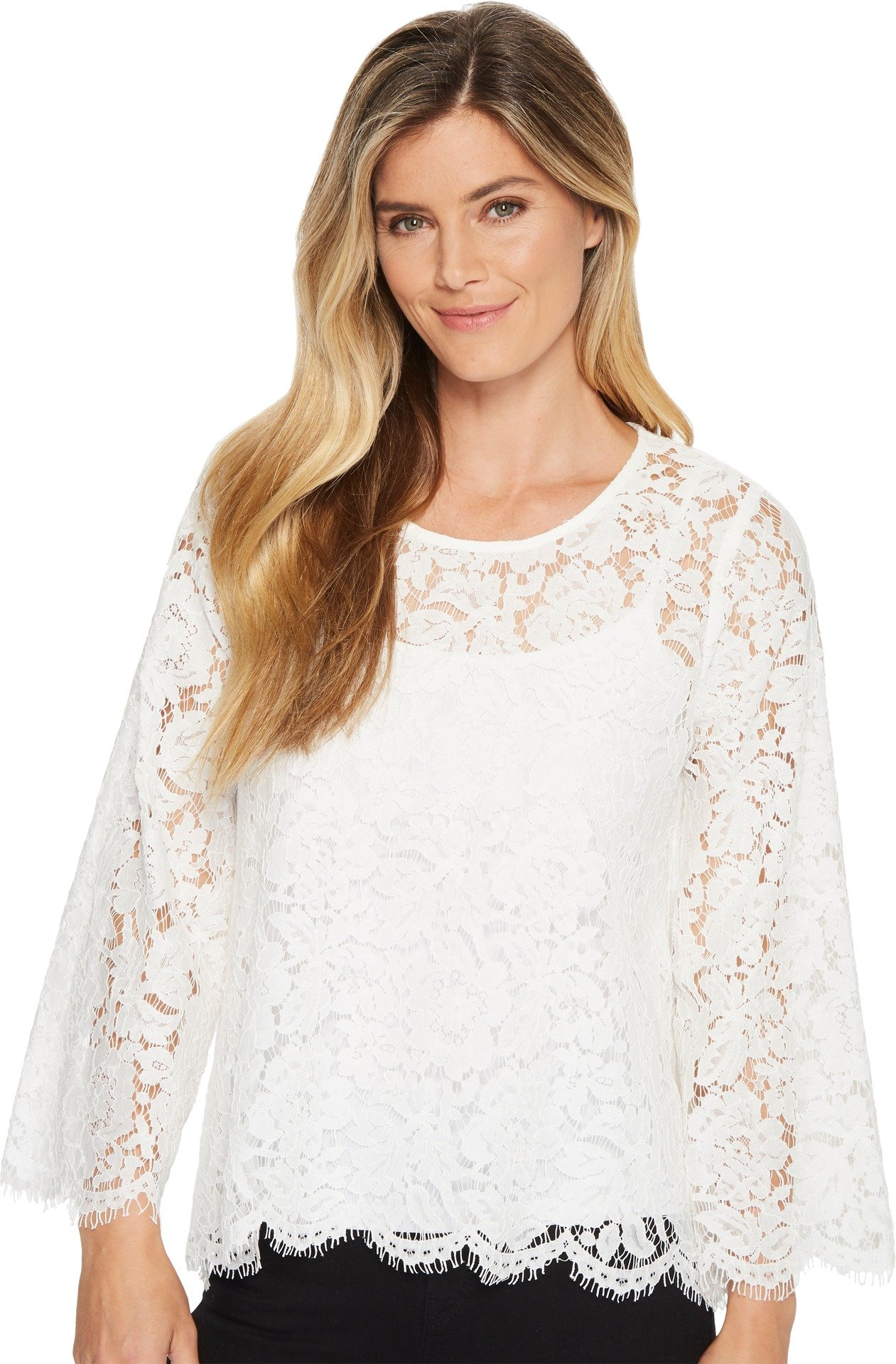 Karen Kane Women's Flare Sleeve Scallop Lace Top Off-White Small