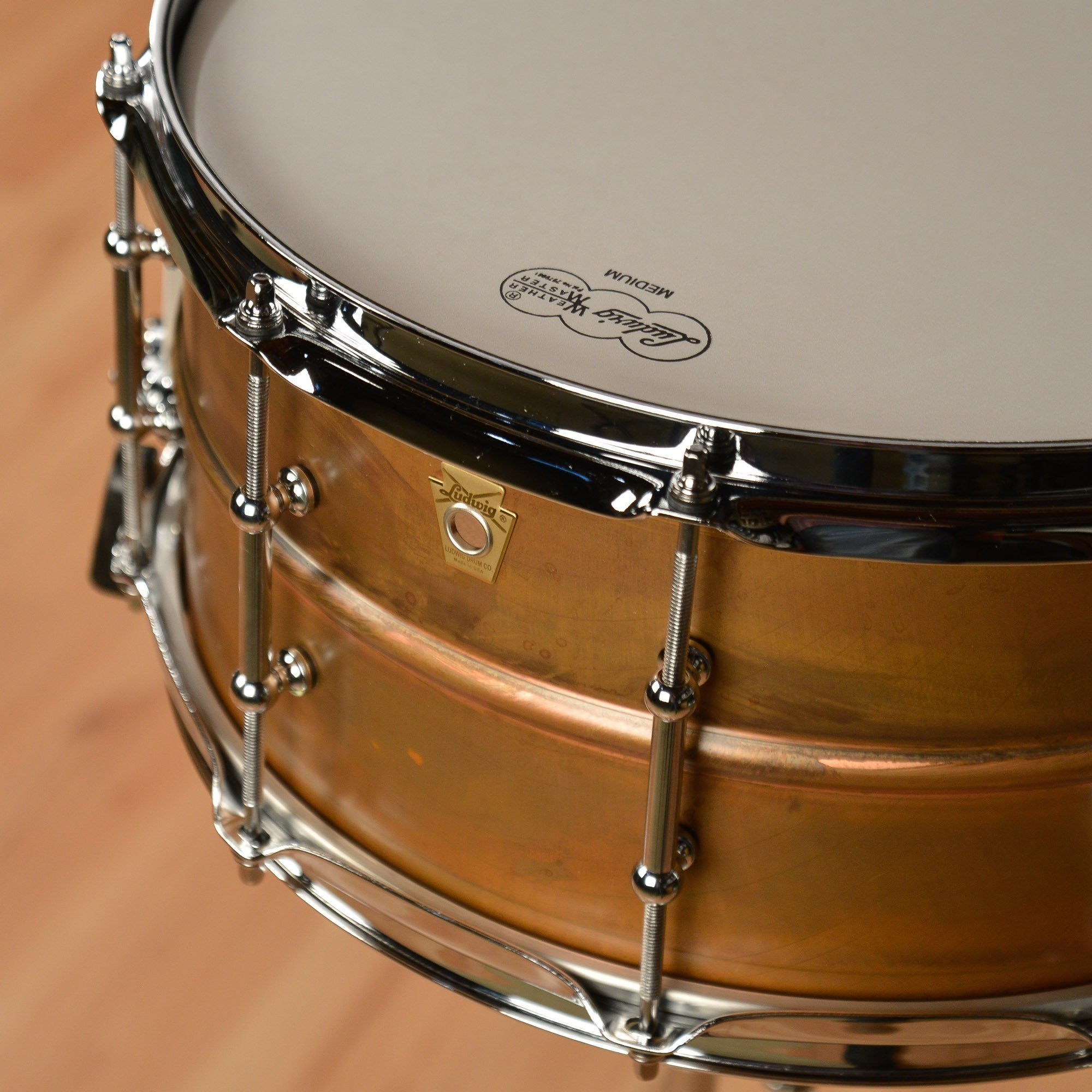 Ludwig Copper Phonic Smooth Snare Drum 14 x 6.5 in. Raw Smooth Finish with Tube Lugs by Ludwig (Image #2)