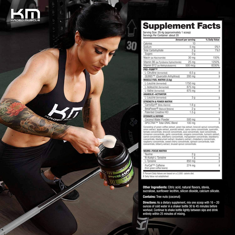 KAGED MUSCLE, PRE-KAGED Pre Workout Powder, Orange Krush, L-Citrulline +  Creatine HCl,