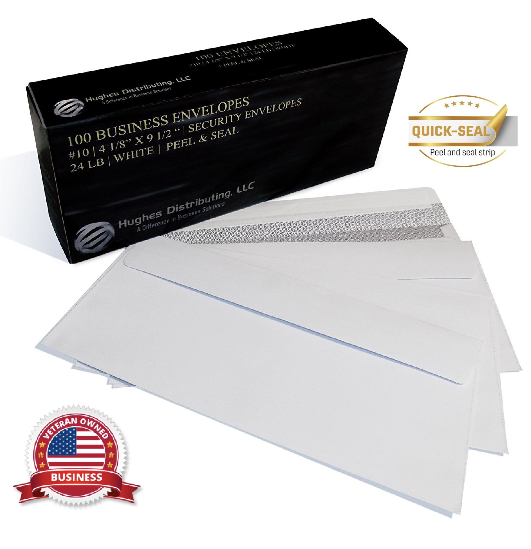 NO #10 Security SELF SEAL Business Envelope No Window Premium Black Security Tint Ideal for Home Office Secure Mailing PEEL & SEAL Closure - 4-1/8 x 9-1/2 Inches - White - 24 LB - 100 Per Box