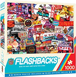 MasterPieces Flashbacks 1000 Puzzles Collection - Quick Stop Diner 1000 Piece Jigsaw Puzzle