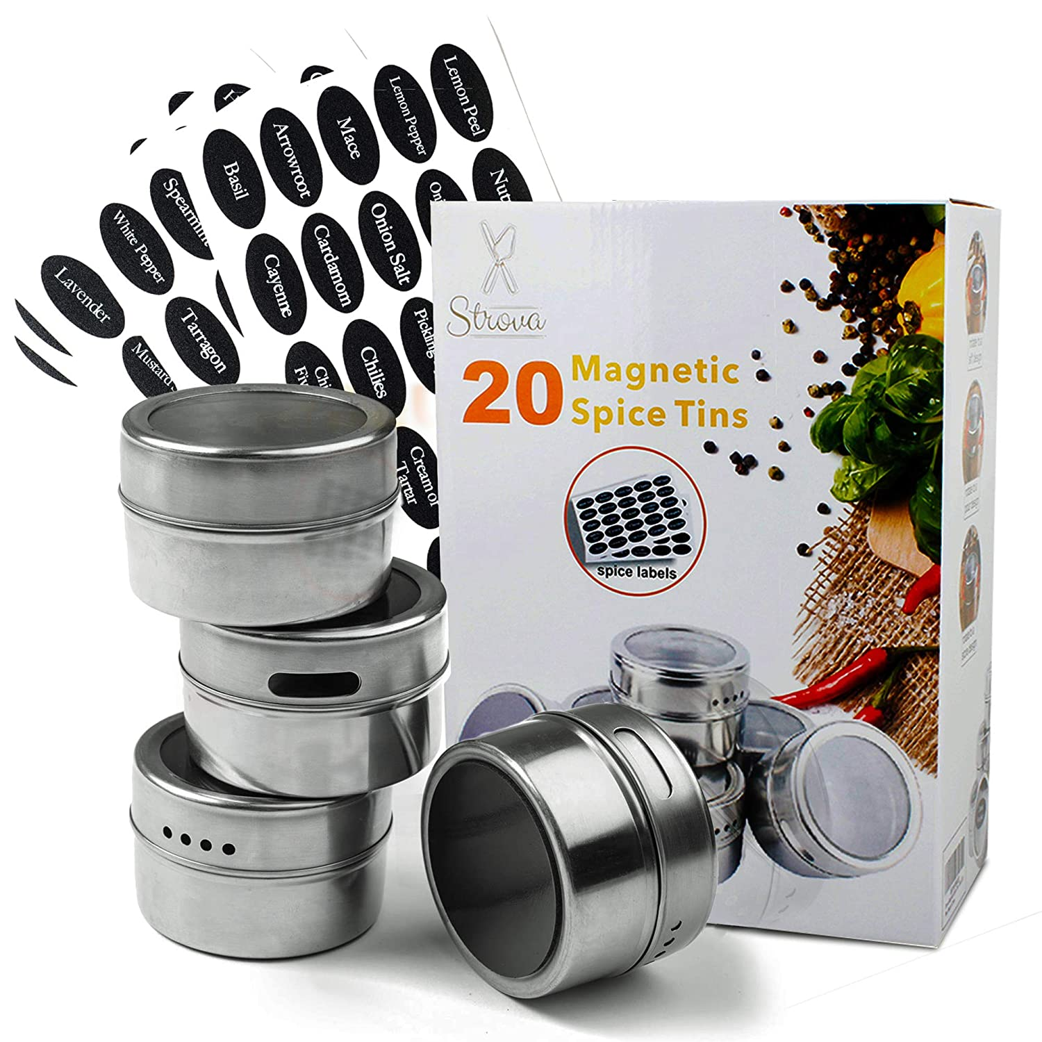 Strova Magnetic Spice Tins (20-Piece Set) Dual-Purpose Sift and Pour Holes | Round, Stainless Steel Cans w/Transparent Shaker Tops | Incl. 150 Pre-Printed Sticker Labels