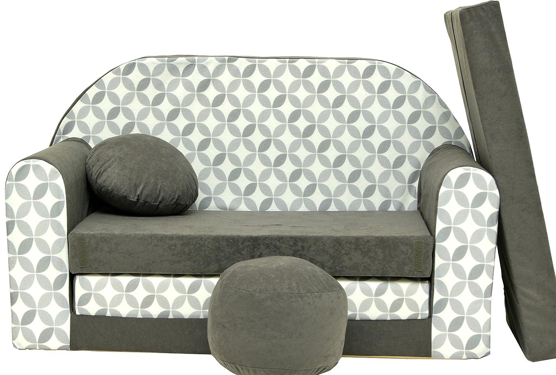 Divano divanetto bambini e cuscino e puff mini divano transformabile in lettino (A38) wel