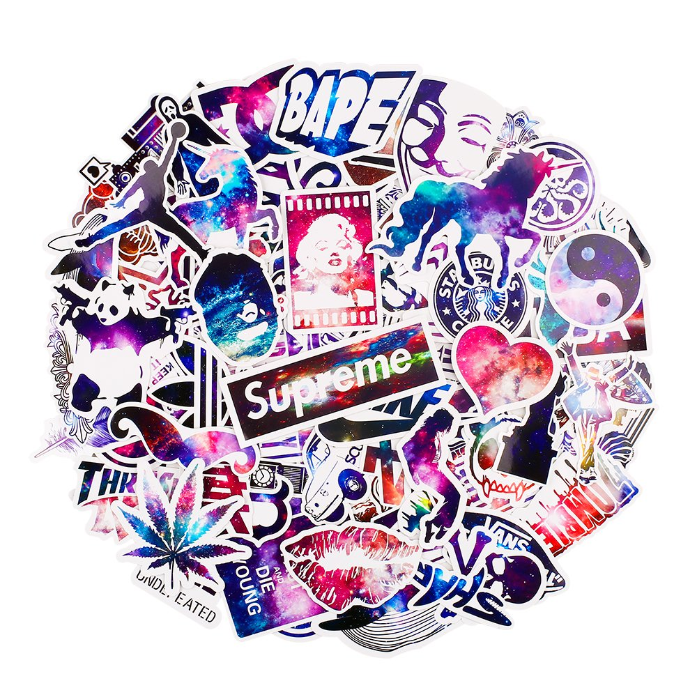 Car Stickers [100 pcs], Breezypals Galaxy Laptop Stickers Motorcycle Bicycle Luggage Decal Graffiti Patches Skateboard Stickers for Laptop[No-Duplicate Sticker Pack] bezgar BPS-05-100