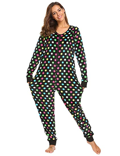 4a7e7b66b6ee Ekouaer Womens Christmas V Neck Onesie Jumpsuit Long Sleeve One Piece  Pajama Playsuit
