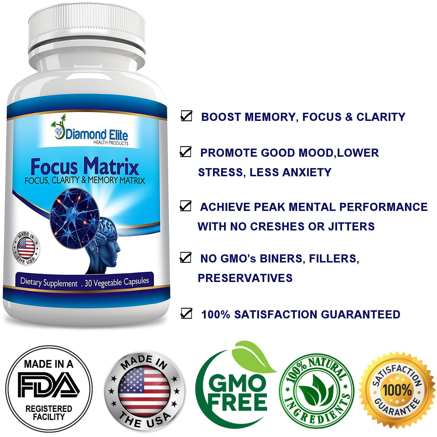 Amazon.com: Natural MEMORY Pills - Supports MENTAL CLARITY & FOCUS ...