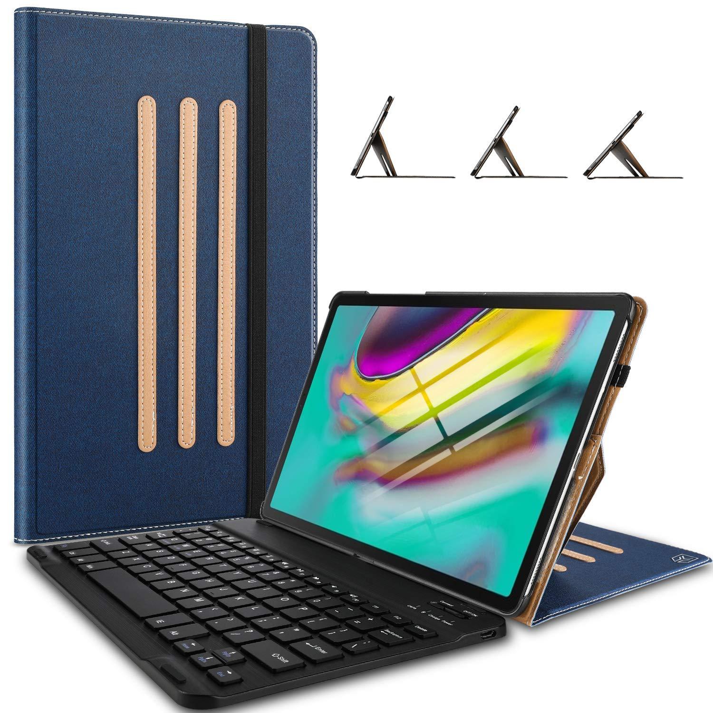 Yocktec キーボードケース Samsung Galaxy TAB S5E用 超薄型 取り外し可能 ワイヤレスキーボードスタンドケース/カバー 3つの安全なスタンド角度付き Samsung Galaxy TAB S5E T720/T725 10.5 インチ 2019 タブレット用  ブルー B07NSSFBMF