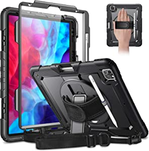 CaseBot Case for iPad Pro 12.9 4th & 3rd Gen 2020 / 2018 with Screen Protector, [360° Rotating Kickstand] Full Body Rugged Heavy Duty Shockproof Cover with Hand Shoulder Strap, Pencil Holder, Black