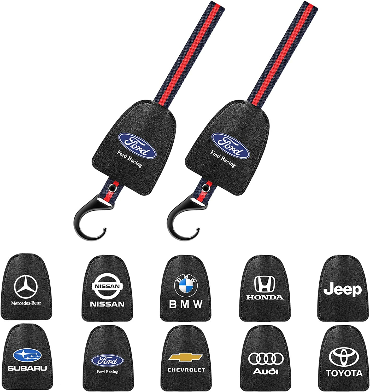 DEWEST 2PCs Genuine Leather Car Hooks Logo for Mercedes-Benz A C E S Class Series,GLK CLA GLA GLC GLE CLS SLK AMG Series Business Presents Car Hook for Women/&Men Car Hooks for Purses and Bags