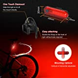 Ascher USB Rechargeable LED Bike Tail Light 2 Pack, Bright Bicycle Rear Cycling Safety Flashlight, 330mah Lithium Battery, 4 Light Mode