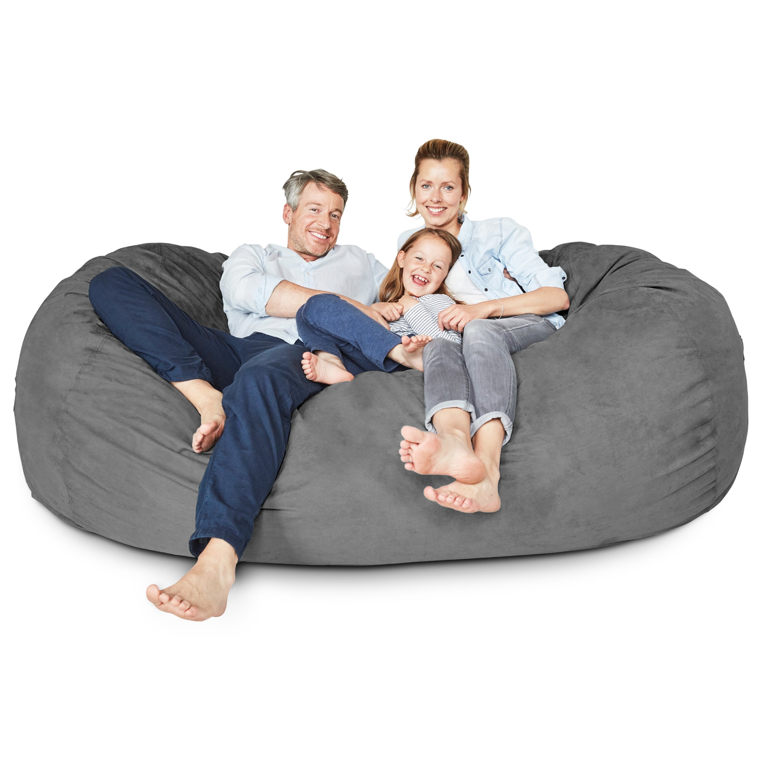 Lumaland Luxury 7-Foot Bean Bag Chair with Microsuede Cover Dark Grey, Machine Washable Big Size Sofa and Giant Lounger Furniture for Kids, Teens and Adults by Lumaland