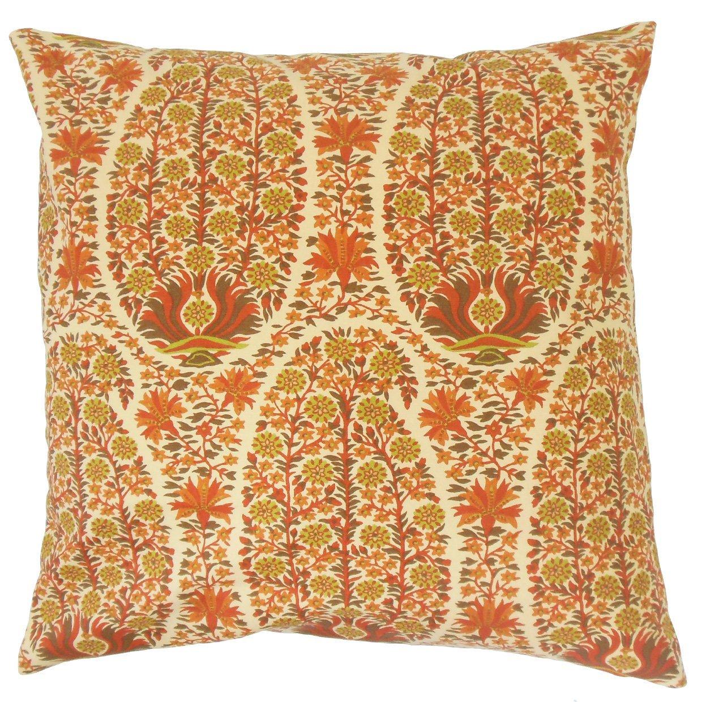 The Pillow Collection Caliana Floral Bedding Sham Saffron Standard/20 x 26',