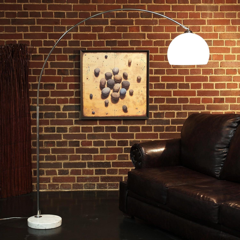 RETRO DESIGN BOGENLAMPE WEISS mit MARMORFUSS höhenverstellbare stehlampe bogenleuchte