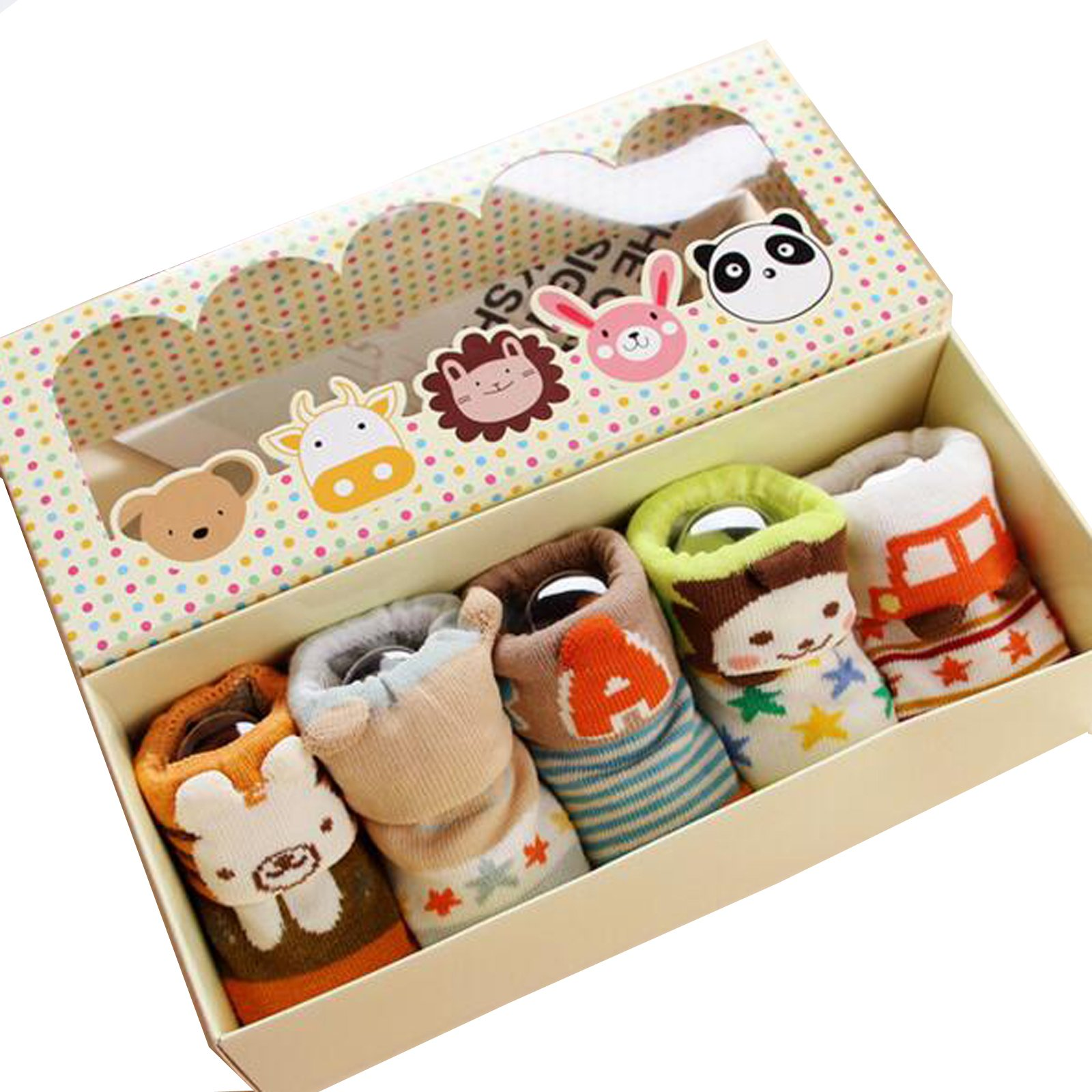 Fly-love® 5pairs Animal Non-Skid Slip Toddler Socks Cotton Unisex Baby Crew Sock 0-18 months With Box by love (Image #9)