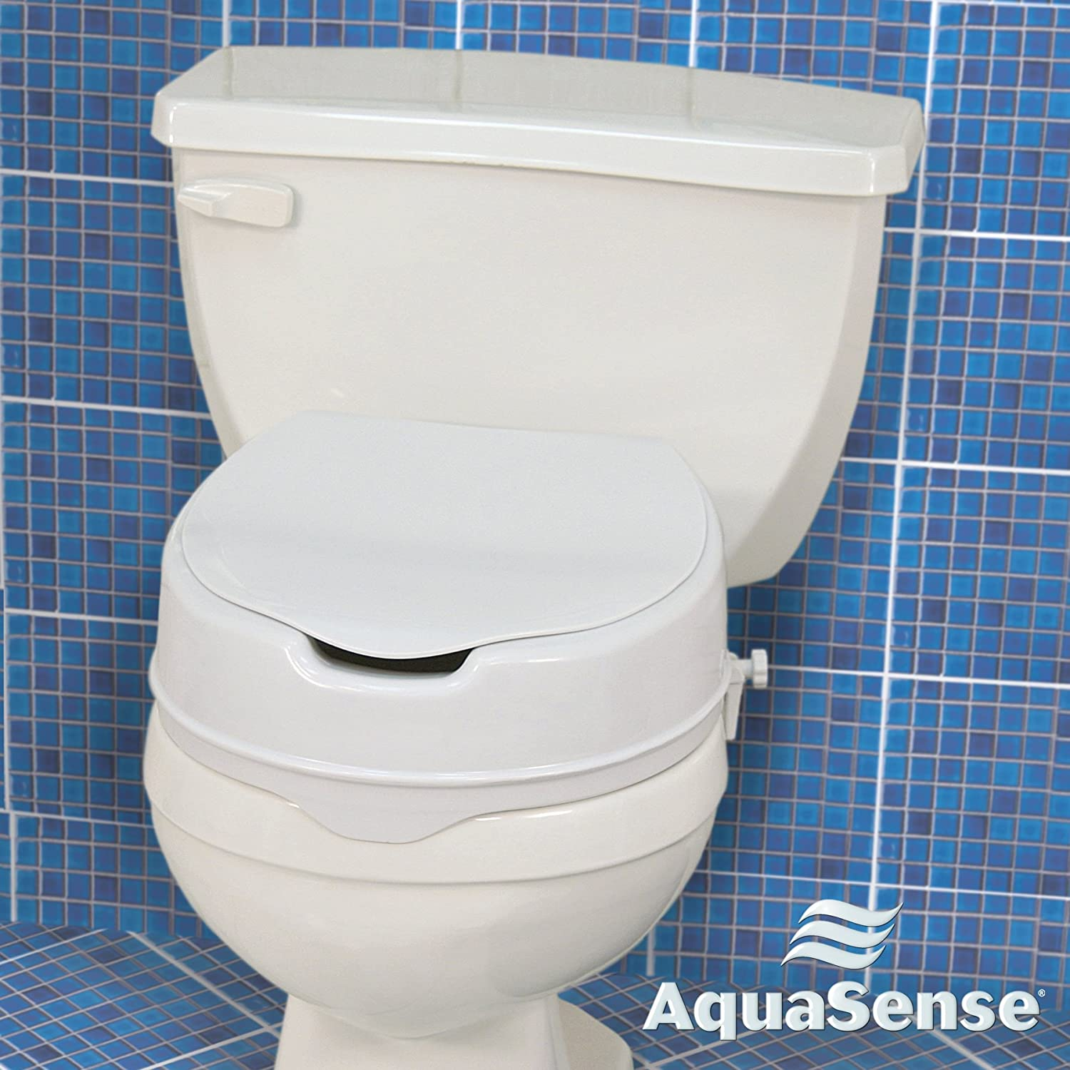 Amazon.com: AquaSense Raised Toilet Seat with Lid, White, 2 Inches ...